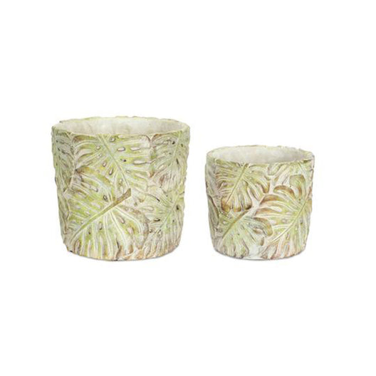 Cement Pot with Leaves 4 set - 5 x 4.75, 6.75 x 6 Inch
