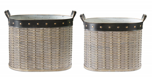 Willow Oval Basket, set of 2- 19, 20 Inches