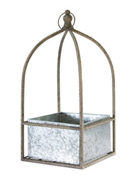 Planter At Home, Galvanized Metal Hanging- 8.75x18.5 Inches