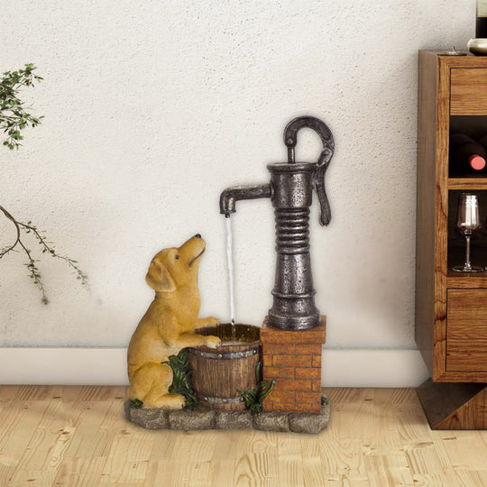 "Water Pump and Dog Fountain 27.5""H Iron"