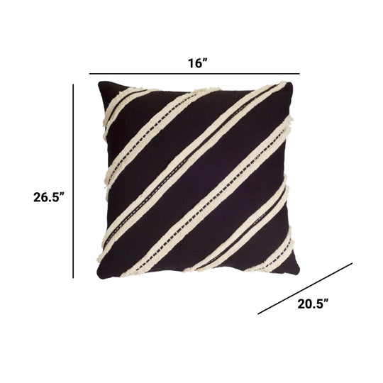 "Pillow (Set of 2) 18"" x 16"" Polyester In cream & Black"