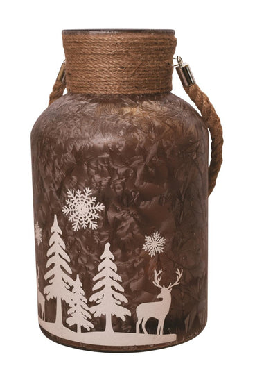 "12"" Brown Iced White Winter Scene Decorative Christmas Pillar Candle Holder Lantern with Handle"