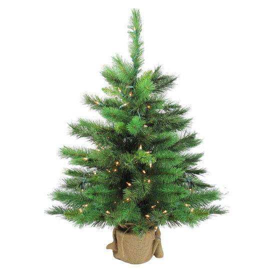 "36"" New Carolina Spruce Artificial Christmas Tree in Burlap Base - Clear Lights"