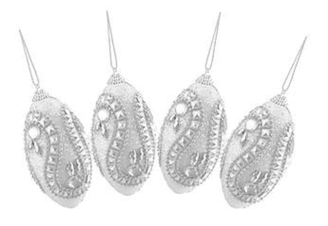 Set Of Four (4) White And Silver Rhinestone And Glittered Shatterproof Christmas Finial Ornaments 4.5