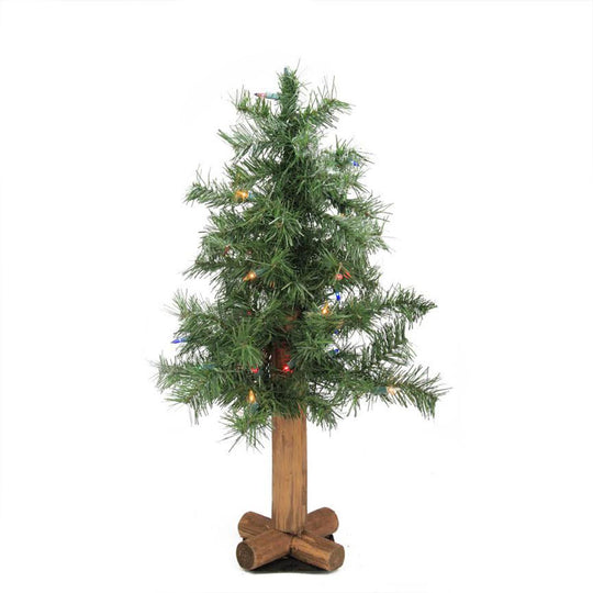 2' Pre-Lit Woodland Alpine Artificial Christmas Tree - Multi-Color Lights