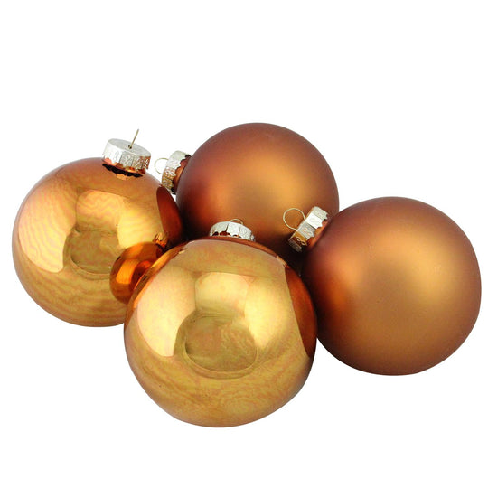 "4-Piece Shiny and Matte Copper Glass Ball Christmas Ornament Set 4"" (100mm)"