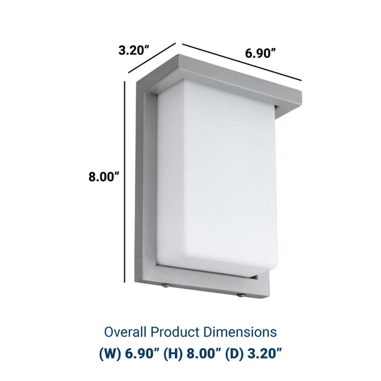 "8"" Modern LED Wall Sconce - 12Watt - Silver Finish - Rectangular Shaped Sconce"