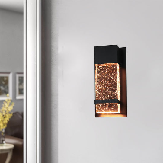 "Wattall Sconce With Rain Glass Panel, 13.75"" Tall, 6.5"" Wide, 14 Watts, Indoor/Outdoor, Black Finish, ADA Compliant, 13.75-Inch/6.5-Inch"