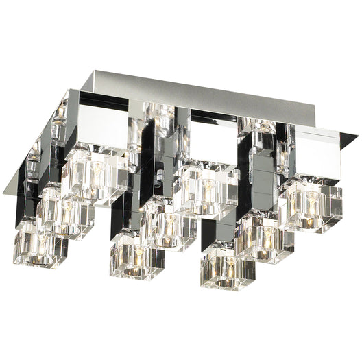 9 Light Ceiling Light Charme Collection, Polished Chrome Dimmable Clear