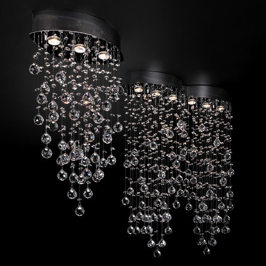 Light Ceiling Light Drizzle Collection Polished Chrome Dimmable  Asfour Handcut Crystal