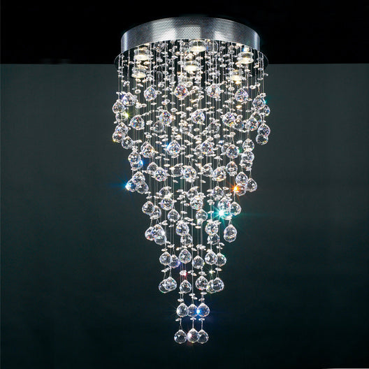 7 Light Ceiling Light Beverly Collection Polished Chrome Dimmable  Asfour Handcut Crystal