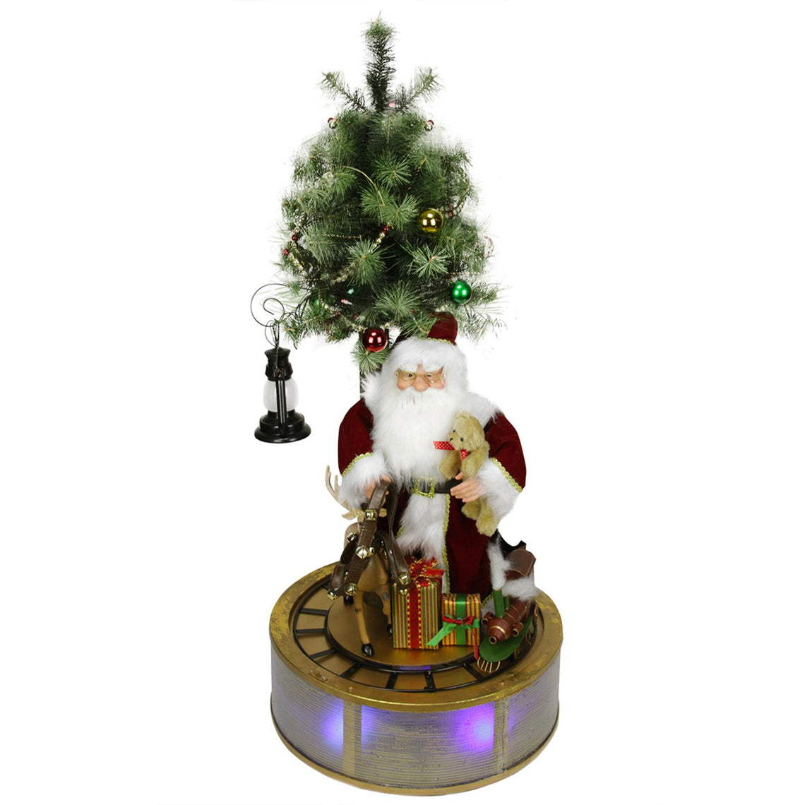 4' Animated and Musical Lighted LED Santa Claus with Tree and Rotating Train Christmas Decor