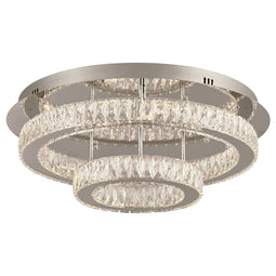 Equis Led 2-Ring Round Ceiling Lite Polished Chrome Dimmable Diamond Cut Crystal