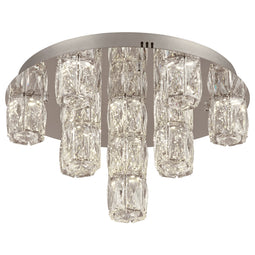 Miramar Led Ceiling Lite Polished Chrome Dimmable Diamond Cut Crystal