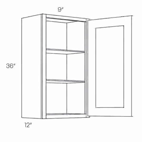 9 X 36 Inch High 1 Door Luxor Smoky Grey Ready To Assemble Wall Cabinet