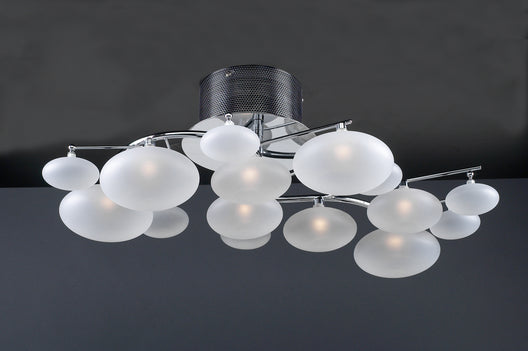 8 Light Ceiling Light Comolus Collection Polished Chrome Dimmable  Frost