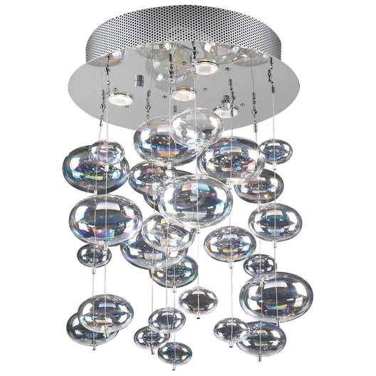 4 Light Ceiling Light In Bubbles Collection, Polished Chrome Dimmable Iridescent