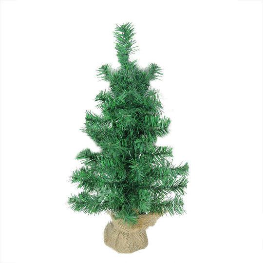 "18"" x 9.5"" Mixed Green Pine Artificial Christmas Tree in Burlap Base - Unlit"