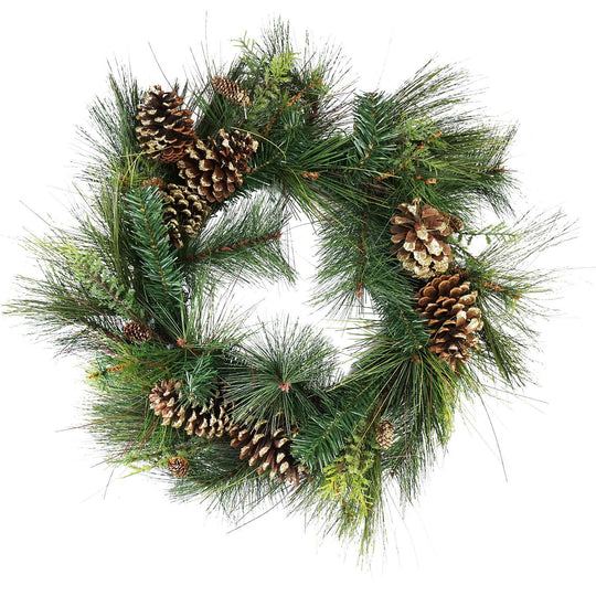 "30"" Artificial Mixed Pine with Pine Cones and Gold Glitter Christmas Wreath - Unlit"