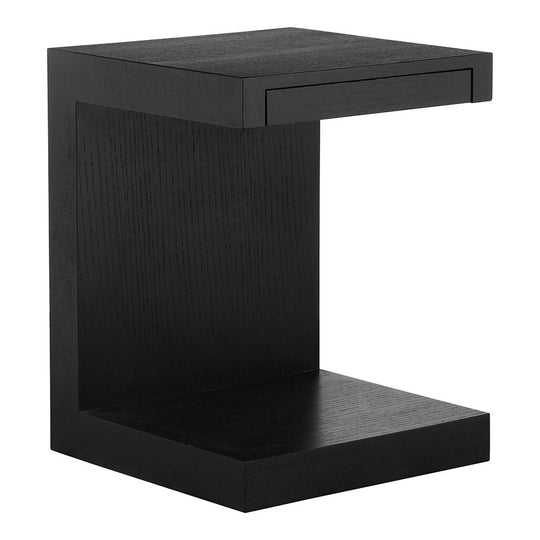 Contemporary Modern Zio Sidetable In Walnut Veneer- End Table With Handleless Drawer For Living Room