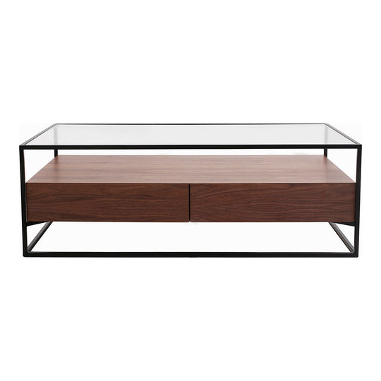 Contemporary Modern Dallas Coffee Table With Storage Shelf - Sofa Side Table