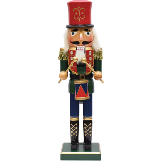 "14"" Green  Red and Gold Wooden Christmas Nutcracker Drummer"