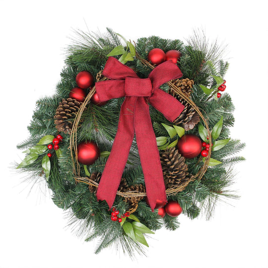 "24"" Pine with Red Ball Ornaments and Pine Cones Artificial Christmas Wreath - Unlit,"