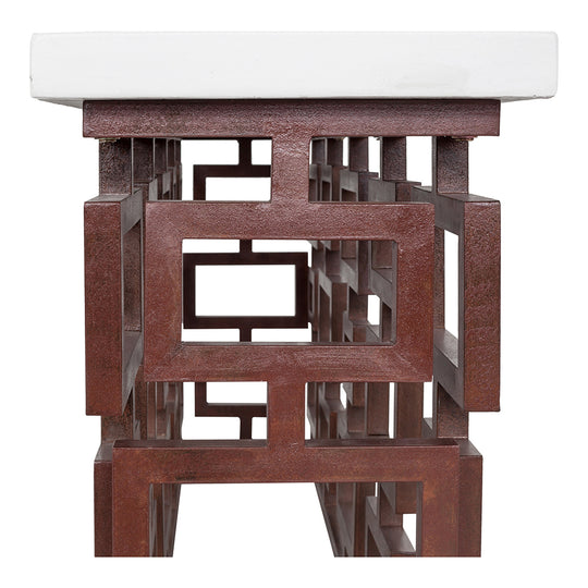 Ivey Outdoor Console Table With Small Square Metal Frame Legs - 16x79x39 Inch