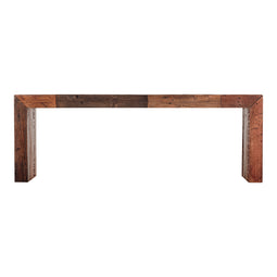 Rustic Small Vintage Bench - Wooden Farmhouse Table With Bench - Light Brown