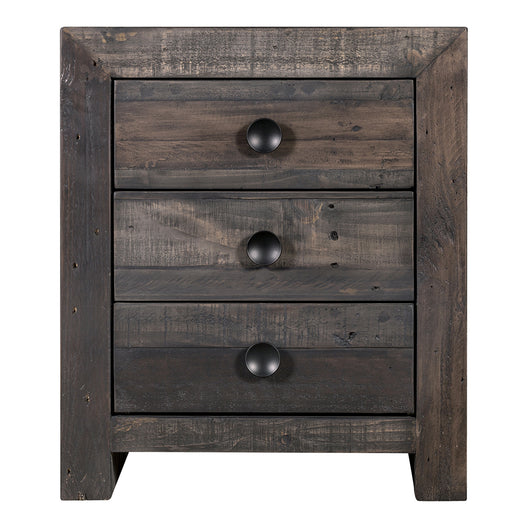 Rustic Vintage Nightstand In Solid Pine Wood -  Nightstand With Three Drawers W/ Small Knobs