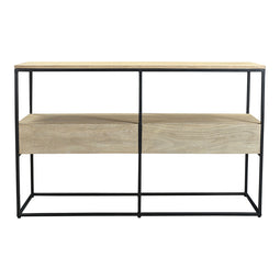 Modern Accent Ava Console Table With One Self In Solid Acacia Wood - Rustic Console Table