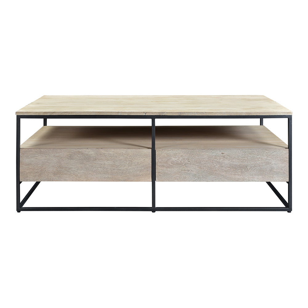 Contemporary Modern Ava Ottoman Coffee Table - Rustic Wooden Lounge Table