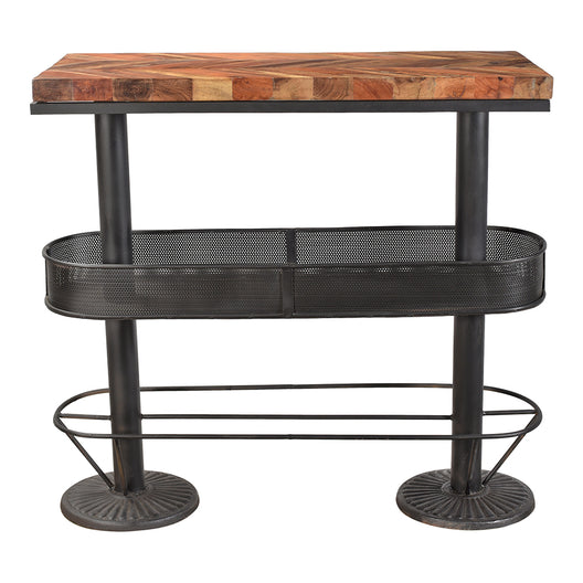Rustic Morrissey Bar Table in parquet-patterned top - Hardwood Pub Table  With Footrest - Footcaps