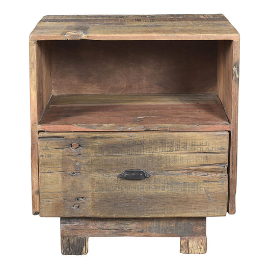 Rustic Klondike Nightstand In Square Wood - Bedside End Table With One Shelf And Drawer