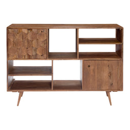 Mid - Century O2 Bookshelf With 2 Doors - Wooden Legs - Natural