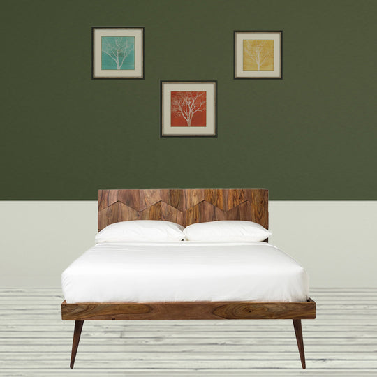 O2 Bed Queen, Mid-Century Modern, Natural