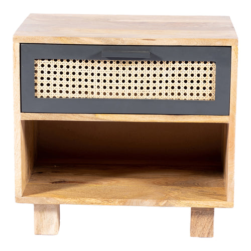 Mid-Century Modern Ashton Chest With One Open Shelf And One Drawer - Wood End Table With Woven-Cane Drawer Fronts