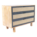 Load image into Gallery viewer, Mid-Century Modern With 3 Drawers In Woven Cane - Side Table For Small Spaces, Wood Look Accent Table, Stable and Sturdy Construction