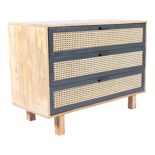 Mid-Century Modern With 3 Drawers In Woven Cane - Side Table For Small Spaces, Wood Look Accent Table, Stable and Sturdy Construction