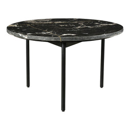 Transitional Lava Marble Coffee Table - Round Cocktail Table - Small Table