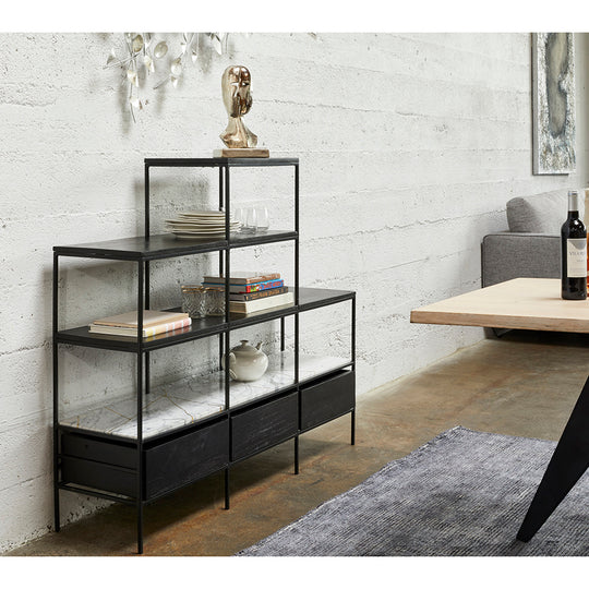 Fascino Bookshelf With Marble Tabletop - Open Shelves - 3 Drawers - Black