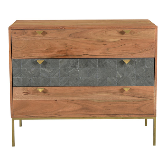 Transitional Nightstand Chest With 3 Drawers - Modern Accent Table  With Iron Legs With One Year Warranty