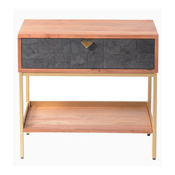 Modern Accent Alessio Nightstand With Iron Legs - Matching Side Tables With Lower Shelf And Drawers In Wood