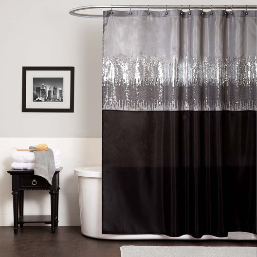 Night Sky Black/Gray Shower Curtain
