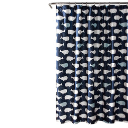 Whale Shower Curtain Navy