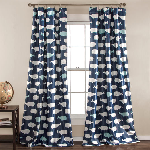 Whale Room Darkening Window Curtain Navy Set