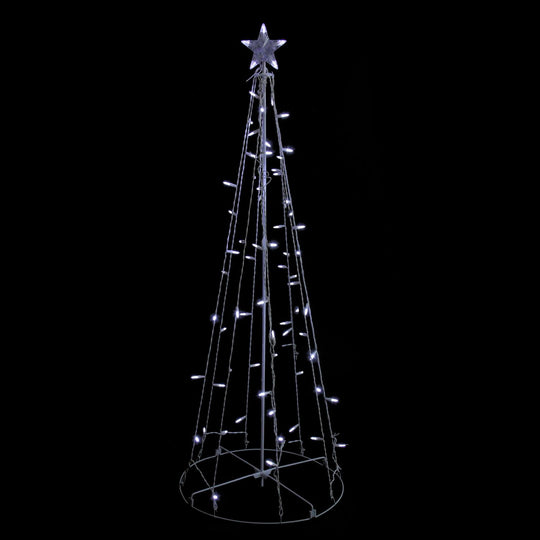 5' Cool White LED Lighted Outdoor Show Cone Christmas Tree Outdoor Decoration