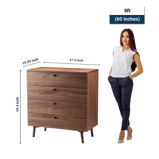 Modern Solano Chest Bedroom Storage Cabinet - Side Stand Storage Cabinet - Brown