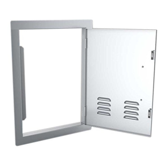 Classic Series 14x20 Vertical Access Door with Vents , 304 Stainless Steel Construction & Even 4 Light Brushed Finishes , Top & Bottom Magnets Secure Doors , Flush finish look & Louvered vents for air ventilation