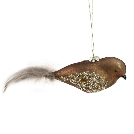"8"" Copper Brown and Gold Mercury Glass Bird Christmas Ornament with Feather Tail"
